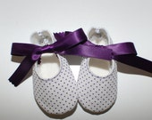White with Tiny Purple Polka Dots Baby Shoes