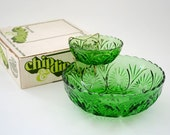 SALE Vintage Anchor Hocking Chip and Dip Set Holiday Green