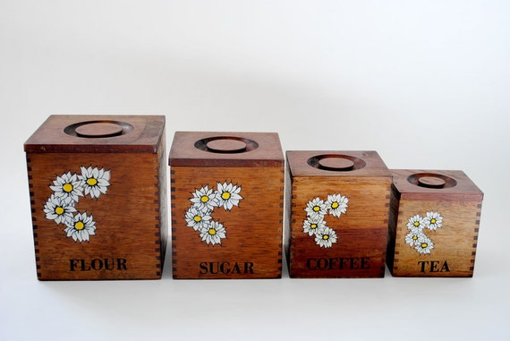 SALE Vintage Wooden Canister Set with Daisy Print