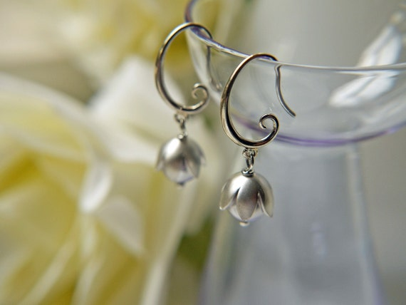 Lustrous Lavender Pearl Earrings. Matte Silver Petal Bead Caps. Subtle Beauty. Lily Of The Valley