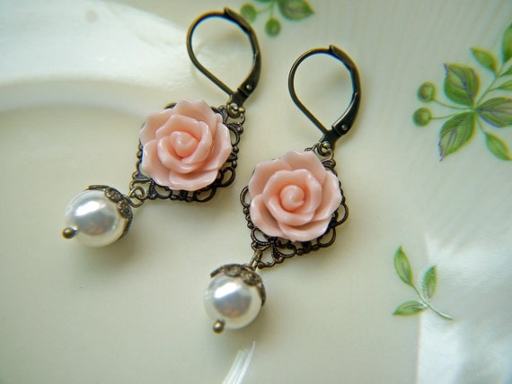 Pink Rose And Pearl Earrings. Romantic Vintage Style Antique Brass Finish