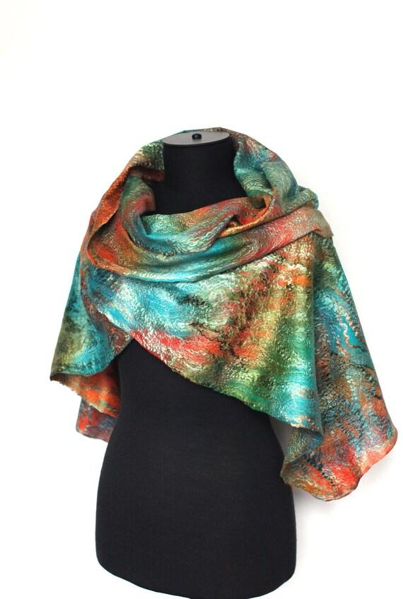 Scarf Felted Scarf Long Fashion Wrap Multicolor Merino Wool Silk Women Scarves