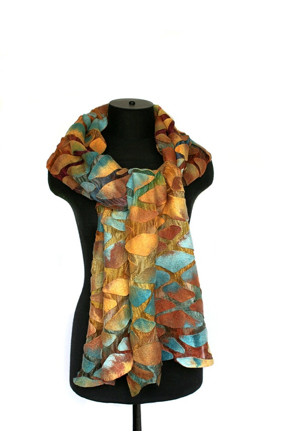 Summer Fashion Scarf Nuno Felted Scarf Earthy Color Merino Wool Silk Gauze Hand Dyed Felt Wrap Gift For Her