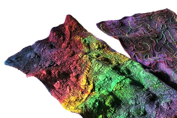 Scarf Nuno Felted Scarf Textured Silk Wool Hand Dyed Multicolor Felt Scarf OOAK
