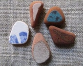 5 genuine beach stones in blue, from the Ionian Sea