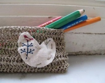 Rustic vegan pencil case