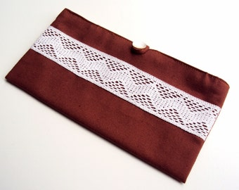 Brown Cotton Bag with Chevron Lace and Vintage Button