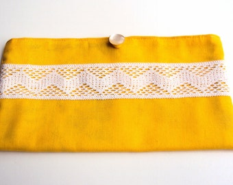 Yellow Cotton Bag with Chevron Lace and Vintage Button
