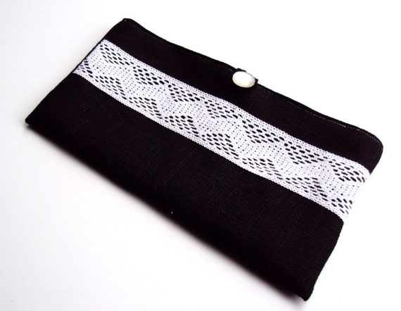 Black Linen bag with Chevron Lace and Button