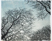 Tree No. 12 Woodblock Print Blue - Award Winner
