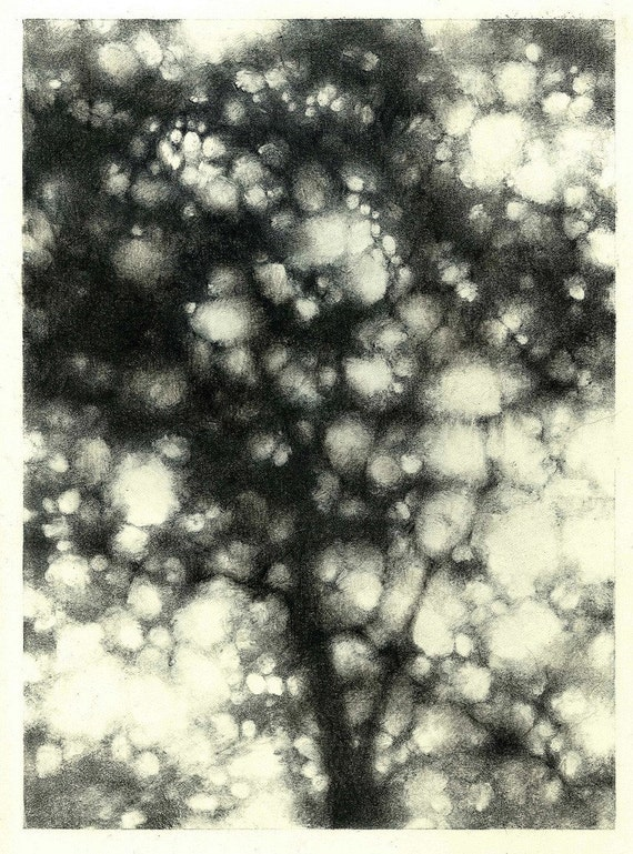 Monotype Tree, One of a Kind Fine Art Print