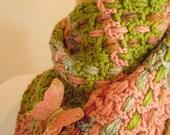 Crocheted Muffler No 2 - Verdigris and Nectar