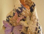 Crocheted Muffler No 27 - Cream and Blueberry