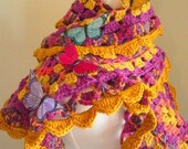 Crocheted Scarf No 25 - Bright Gold and Hot Pink