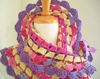 Crocheted Scarf No 22 - Lilac and Rose