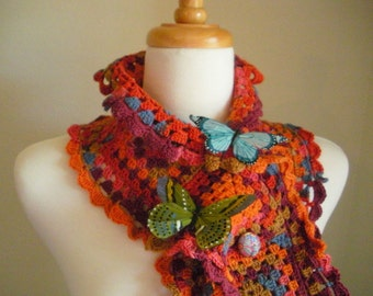 Crocheted Scarf No 20 - Butterfly Brights