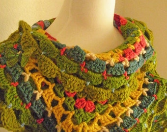Crocheted Scarf No 6 - Tart Apple Green