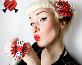 Pin Up Daisy Sparkly Red Rose Tattoo Bow Ring - Retro - 50s - Rockabilly - Tattoo Inspired