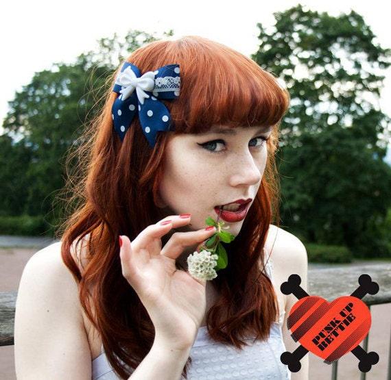 Pin Up Lovely Bow & Lace Polka Dot Navy Hair Bow - Retro - Rockabilly - 50s - Lolita