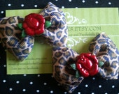 Leopard Print and Rose Rockabilly Baby Hair Bow Set