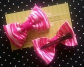 Hot Pink Zebra Striped Psychobilly Baby Hair bow set