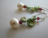 Pearl Earrings, Green and White Pearl Earrings, Keshi Pearl Earrings, Sterling Silver - Garden Party