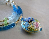 Reserved for Bianca, Blue Gemstone Necklace, Blue, Green Necklace, Gold, Butterfly Cloisonne Necklace - Back to the Garden