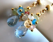 Blue Earrings, Swiss Blue Topaz Earrings, Gold, Blue Topaz, Gemstone Cluster - Blue Cluster