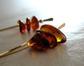 Amber Chips Gold Earrings Fall Fashion Sienna Long Handmade Earring - Autumn Ruffles
