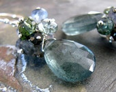 Moss Aquamarine Earrings, AAA Gemstone Cluster Earrings, Luxe, Handmade, Spring Fashion, Sterling Silver - Smoky Mountain Blue