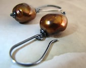 Chocolate Pearl Earrings, Brown, Copper, Bronze, Dangle, Large Baroque, Rustic, Fall Fashion, Handmade, Sterling - Godiva