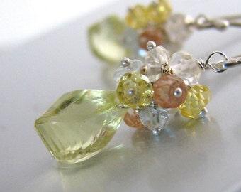 Yellow Earrings, Yellow Topaz Earrings, Sterling Silver, Gemstone Cluster, AAA Topaz - Sunday Morning Sunshine