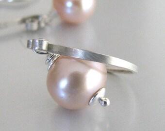 Pearl Earrings, Pink Pearl Earrings, Sterling Silver, AAA Natural Freshwater Pearl Earrings, Dangle - Summer Rose