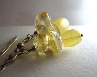 Yellow Gold Earrings, Yellow Citrine Earrings, Gold, Citrine Gemstone Earrings, Dangle - Liquid Sunshine