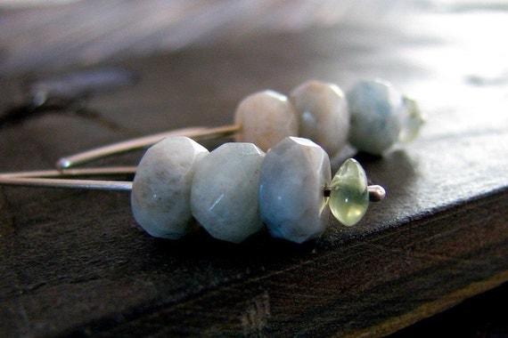 Aquamarine Earrings, Green Amethyst Gemstone Sterling Silver Handmade, March Birthstone, Pastel, Spring Fashion - Water Babies