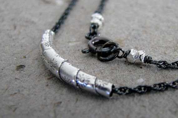 Silver Necklace, Hill Tribe Silver Charm, Antiqued Sterling Silver, Simple, Unisex, Fashion Accessory, Modern- Twisted