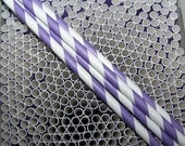 Paper Straws 20 Purple Stripe..Stocking Stuffer Idea  Fast Ship Everywhere  Custom Orders Welcome Any Size/Any Colors