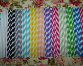 Paper Straws 112  Straws 16 Of Each: Red,Blue,Lime, Grey ,Peach, Yellow , Aqua, Perfect combination