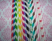 Paper Straws Paper Stripe Drinking Straws Mixed Colors 10 Piece U-Pick Colors Fast Ship Everywhere