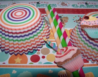 Cupcake Liners In Fun Rainbow Stripes 2 Dozen Standard Size   Paper Party