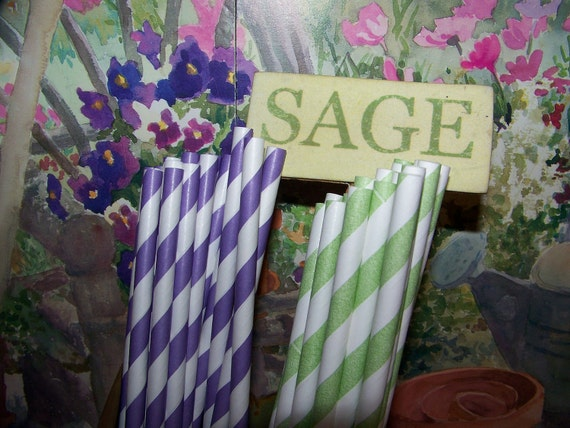 Paper Straws 50 Straws Mixed Colors Purple & White And Green And White