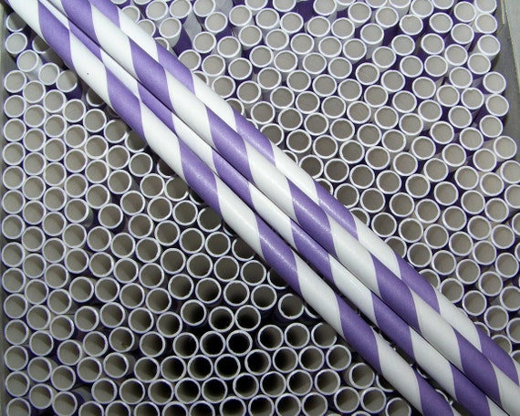 Paper Straws 20 Purple Stripe Wedding Reception Decor Fast Ship Everywhere  Custom Orders Welcome Any Size/Any Colors