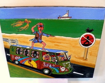 folk art painting,whymsical,hippy,WESTFALIA,10x12,Sale