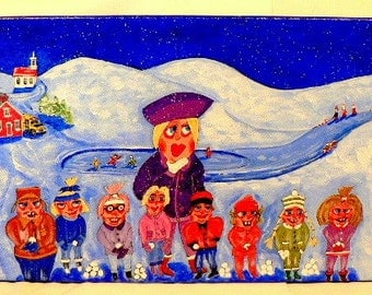 Folk art painting,school,children,snow,10x20,fun