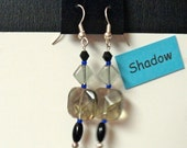 "CLEARANCE SALE:  ""Shadow"" Handmade Beaded Earrings (black, gray, cobalt)"