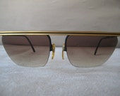 Awesome Laura Biagiotti Designer Sunglasses Gold with brown gradient lenses Terminator stylee 1980's
