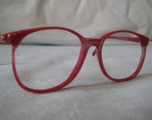 Adolfo Liberty Nerdy 1980's  Sunglasses or Eyeglasses eye popping red striped clear patterned frames