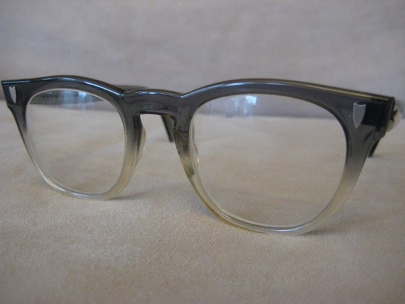 RESERVED for colortint---U/Z Cateye Horned Rim Mad Men Era Eyeglasses gray fade frames with prescription lenses and metal detailing at temples