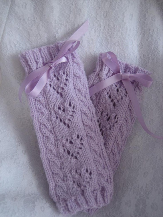Lavender Hearts Legwarmers (Child Medium/Large)