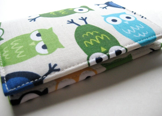 Business Card Case, Credit Card Holder Cover - Urban Zoologie Owls in Blue - READY TO SHIP